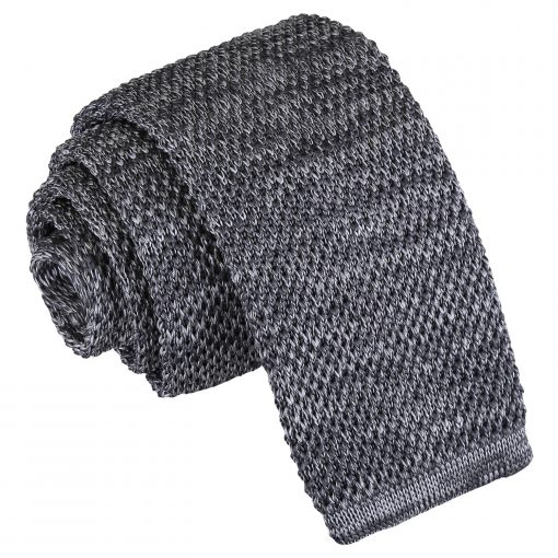 Grey Melange Plain Speckled Knitted Skinny Tie
