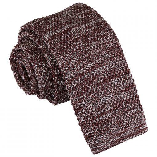Mocha Brown Melange Plain Speckled Knitted Skinny Tie