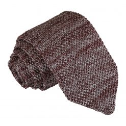 Mocha Brown Melange Plain Speckled Knitted Slim Tie