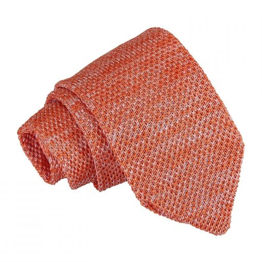 Orange Melange Plain Speckled Knitted Slim Tie
