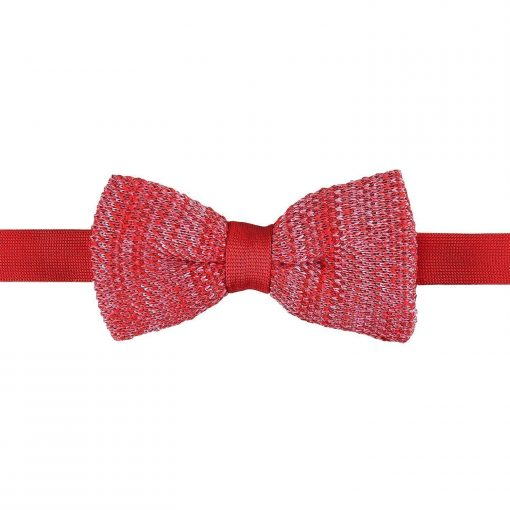 Burgundy Melange Plain Speckled Knitted Pre-Tied Bow Tie