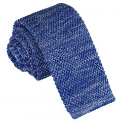 Royal Blue Melange Plain Speckled Knitted Skinny Tie
