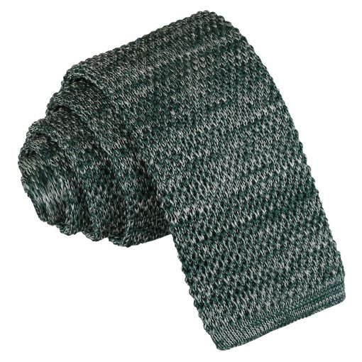 Teal Melange Plain Speckled Knitted Skinny Tie