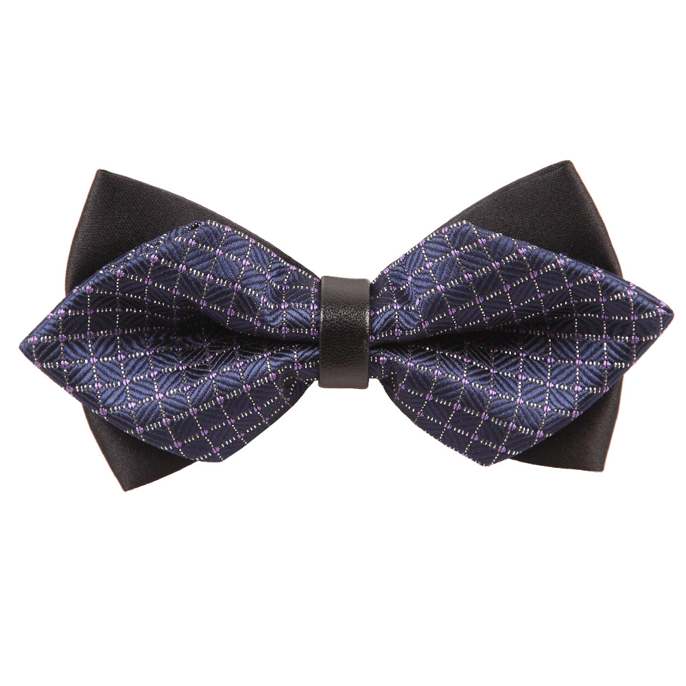 s large grid navy blue white tip bow tie