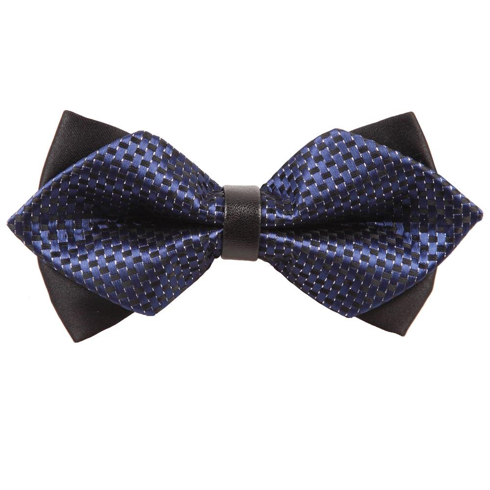 Black Flower Bow With Diamond: Men's Checkered Navy Blue & Black Diamond Tip Bow Tie