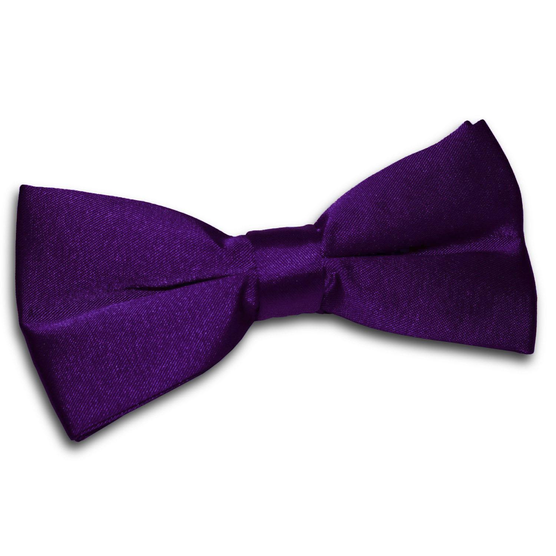 c5214c80a28f DQT Satin Plain Solid Purple Formal Classic Mens Pre-Tied Bow Tie ...
