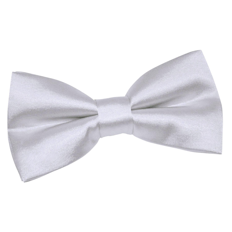 96873e334d79 DQT Satin Plain Solid Silver Formal Classic Mens Pre-Tied Bow Tie ...