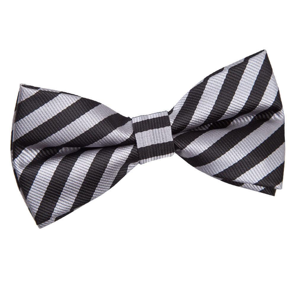 s thin stripe black grey pre bow tie