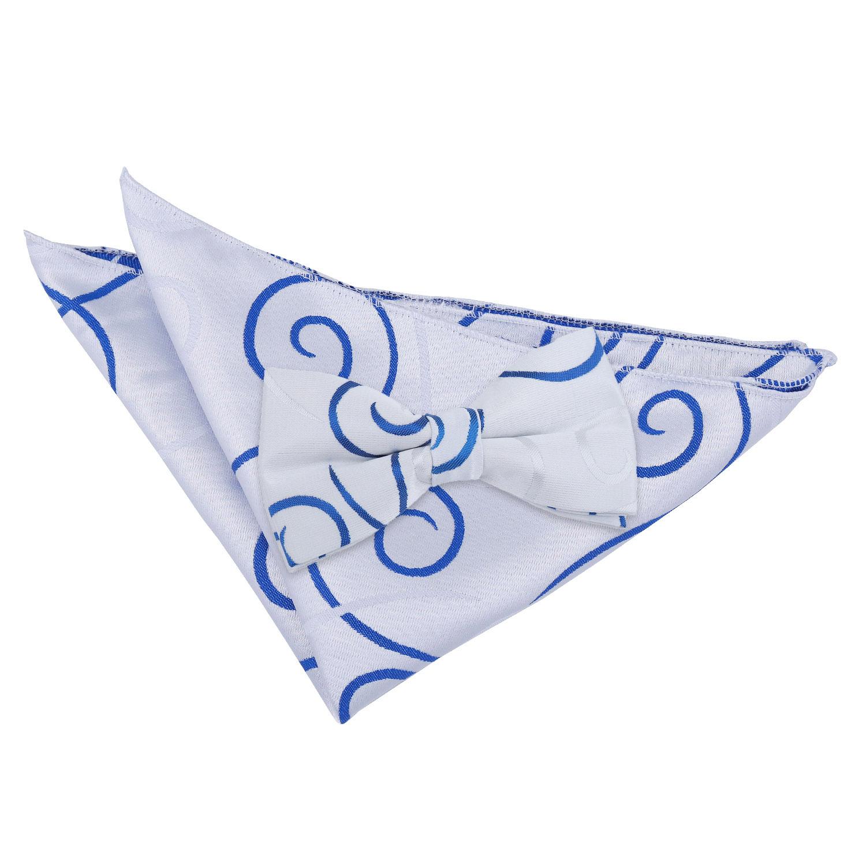 51c9ac1e7b2b DQT Woven Scroll Patterned Silver Royal Blue Mens Bow Tie & Hanky ...