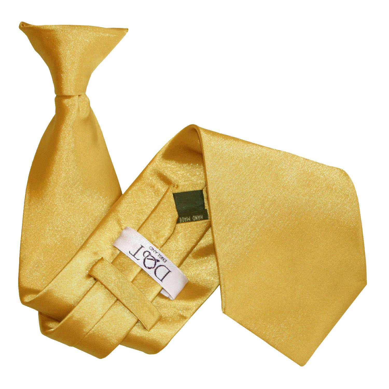 Men S Plain Gold Satin Clip On Tie
