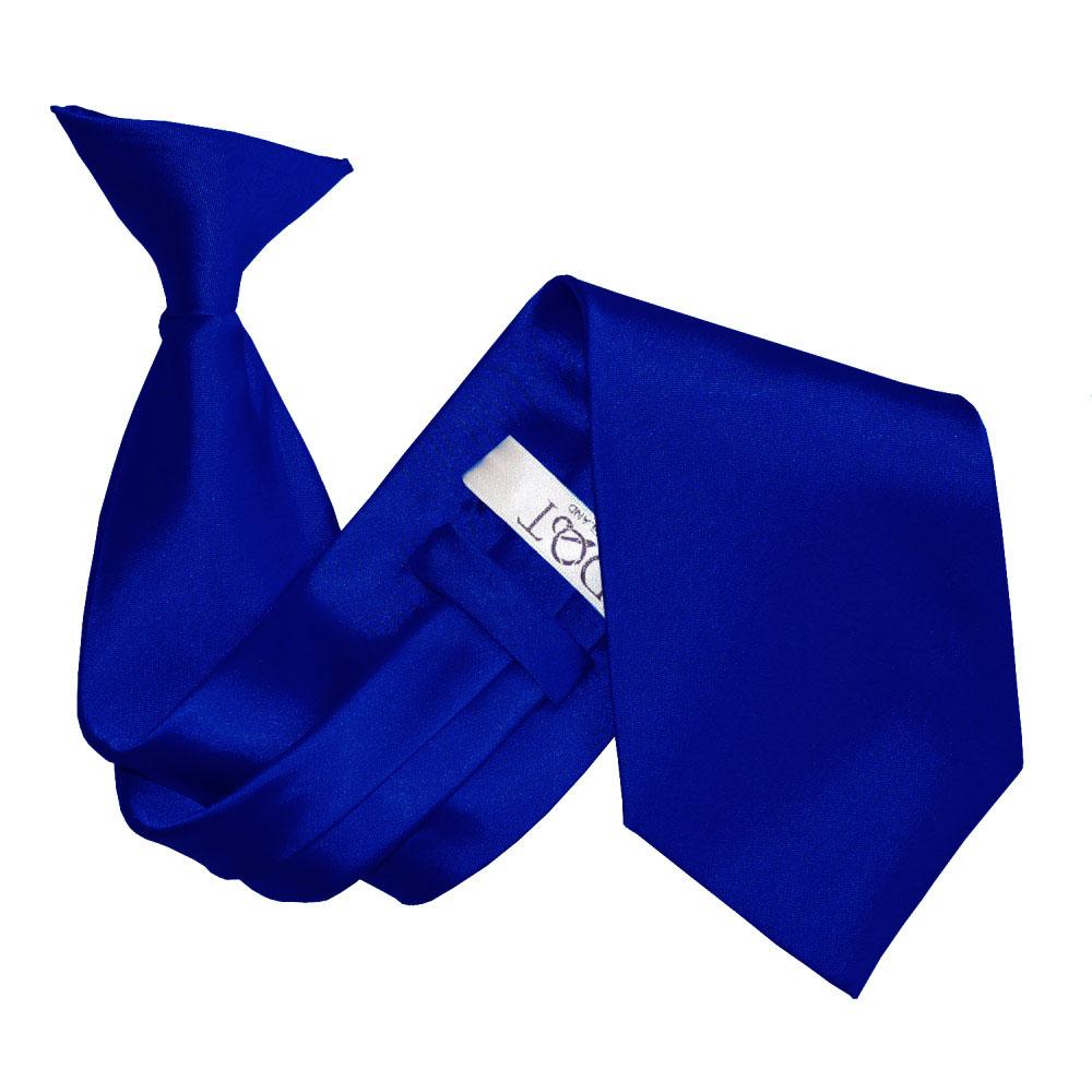 Men's Plain Royal Blue Satin Clip On Tie