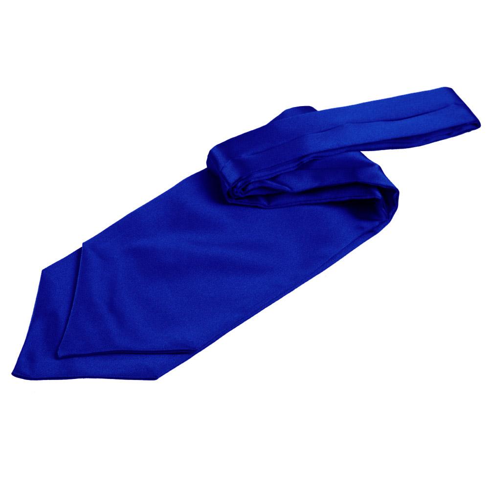 Men's Plain Royal Blue Satin Self-Tie Cravat