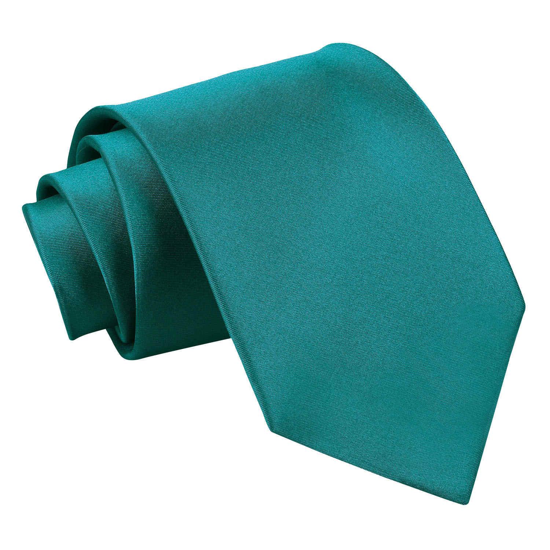 Plain Teal Satin Extra Long Tie