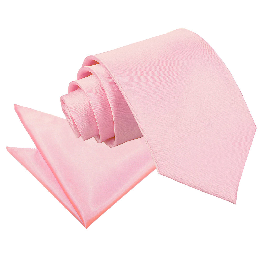 s plain baby pink satin tie 2 pc set