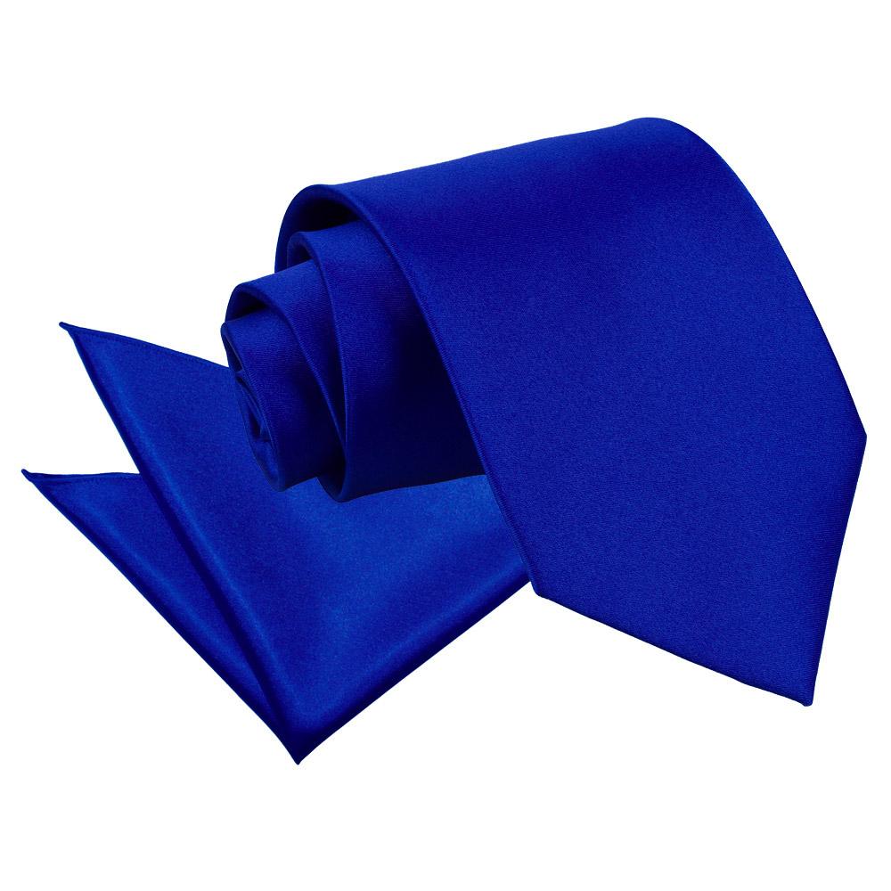 DQT Satin Plain Solid Royal Blue Mens Classic Tie & Hanky
