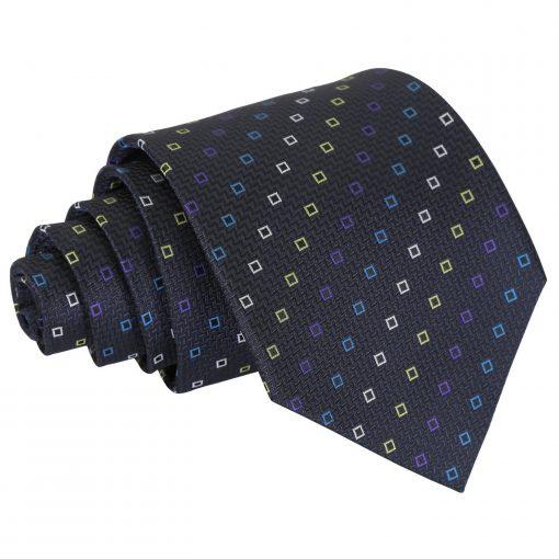 Black with Blue and Yellow Mini Diamond Geometric Classic Tie