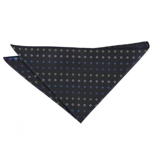 Black with Blue and Yellow Mini Diamond Geometric Pocket Square