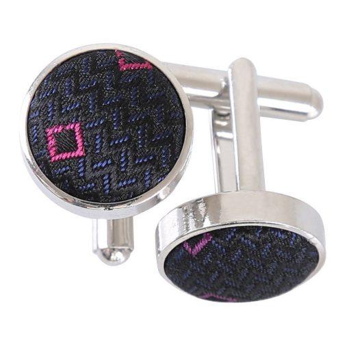 Black with Pink and Silver Mini Diamond Geometric Cufflinks