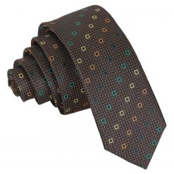 Brown with Green and Gold Mini Diamond Geometric Skinny Tie