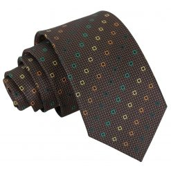 Brown with Green and Gold Mini Diamond Geometric Slim Tie