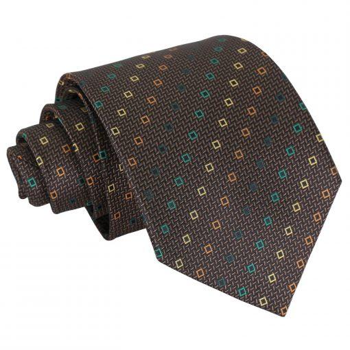 Brown with Green and Gold Mini Diamond Geometric Classic Tie