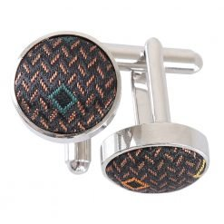 Brown with Green and Gold Mini Diamond Geometric Cufflinks