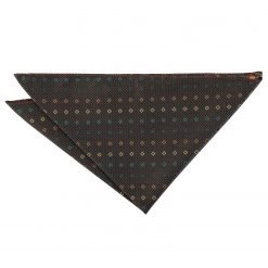Brown with Green and Gold Mini Diamond Geometric Pocket Square