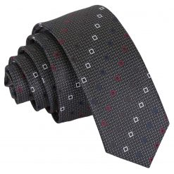 Grey with White and Burgundy Mini Diamond Geometric Skinny Tie