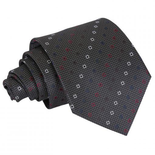 Grey with White and Burgundy Mini Diamond Geometric Classic Tie