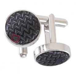Grey with White and Burgundy Mini Diamond Geometric Cufflinks