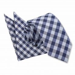 Navy Blue Gingham Check Tie & Pocket Square Set