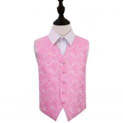 Baby Pink Paisley Wedding Waistcoat for Boys