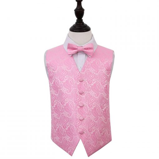 Baby Pink Paisley Wedding Waistcoat & Bow Tie Set for Boys