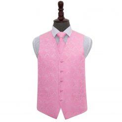 Baby Pink Paisley Wedding Waistcoat & Tie Set