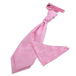 Baby Pink Paisley Wedding Cravat & Pocket Square Set