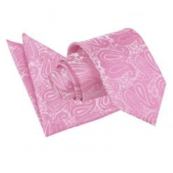 Baby Pink Paisley Tie & Pocket Square Set