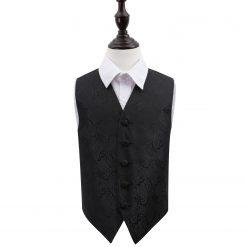 Black Paisley Wedding Waistcoat for Boys