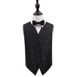 Black Paisley Wedding Waistcoat & Bow Tie Set for Boys