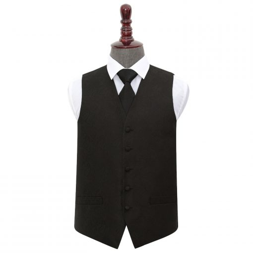 Black Paisley Wedding Waistcoat & Tie Set