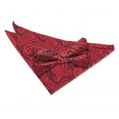 Black & Red Paisley Bow Tie & Pocket Square Set