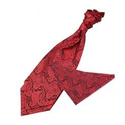 Black & Red Paisley Wedding Cravat & Pocket Square Set