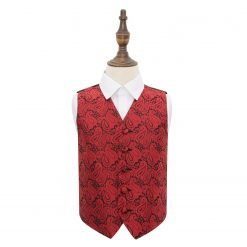 Black & Red Paisley Wedding Waistcoat for Boys