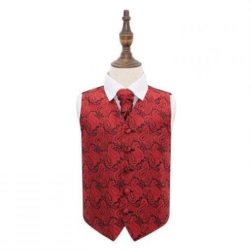 Black & Red Paisley Wedding Waistcoat & Cravat Set for Boys