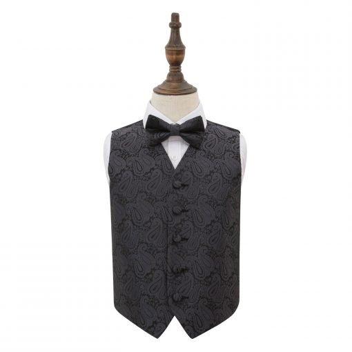 Charcoal Grey Paisley Wedding Waistcoat & Bow Tie Set for Boys