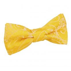 Gold Paisley Pre-Tied Bow Tie for Boys