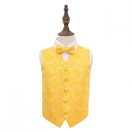 Gold Paisley Wedding Waistcoat & Bow Tie Set for Boys