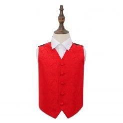 Red Paisley Wedding Waistcoat for Boys