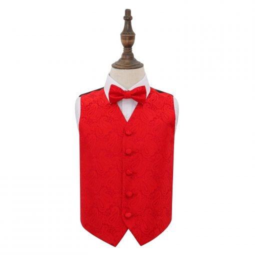 Red Paisley Wedding Waistcoat & Bow Tie Set for Boys