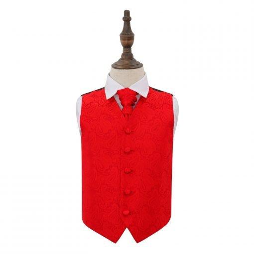 Red Paisley Wedding Waistcoat & Cravat Set for Boys