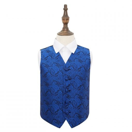 Royal Blue Paisley Wedding Waistcoat for Boys